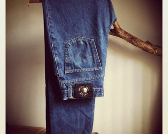 Versace Blue Darkwash Denim Designer Jeans Genuine Gianni late 1990s Versace Medusa Emblem 27 straight leg Unisex