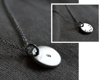 Sterling Initial Necklace - Stamp both sides - Customize - Personalize - Sterling - Initials