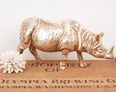 vintage brass rhino figurine
