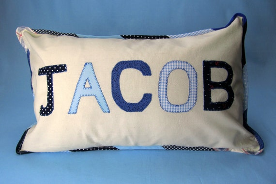 Blue personalised pillow ByElsieB