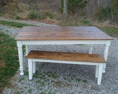Rustic Farm Table, Etsy Furniture, Farm Tables on Etsy, Farmhouse Table, Kitchen Table, Bench, Dining Room Table