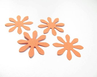 Confetti - 100 CARDBOARD flowers - Orange - Flowers - Autumn - Baby shower - Flavors - Wedding - Birthday - Party