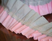 Ruffle Garland Pink and Gray Crepe Paper Ruffled Streamer Banner