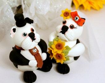 Dog custom wedding cake topper, Boston terrier cake topper with banner, sunflower wedding