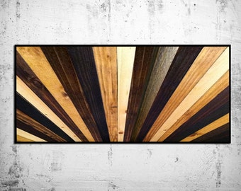 "Natural Stained Wood Headboard - ""Sunburst"" Wood Wall Sculpture - King Headboard - Modern Wood Wall Art - Wood Sculpture - Abstract Wood Art"