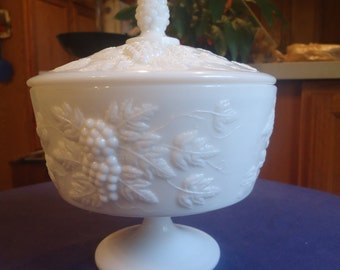Milk Glass Round Covered Candy Dish/Compote
