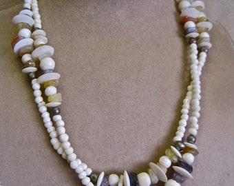Boho Tribal Necklace Festival Carved Bone Beads Genuine Agates Carnelian Amethyst Quartz Polished Nuggets Vintage 70s Hippie Gypsy