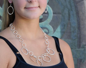 Chain Necklace - Fine Silver and Rose Gold Handmade Chain Necklace