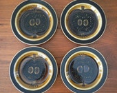 RESERVED for Atsushi - Set of 4 Arabia Fructus Salad Plates in Amber, 1960s Finland