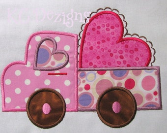 Valentine Truck With Heart Machine Applique Embroidery Design - Valentine Truck Applique Design - Valentine Applique Design - Applique Truck