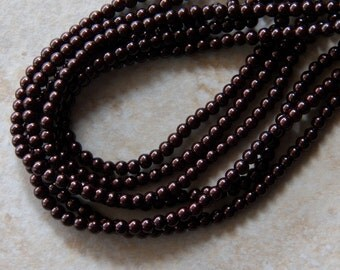 4mm Dark Brown Glass Pearls, 100 PC (INDOC086)