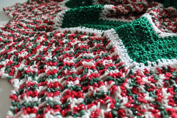 Crochet Xmas Tree Skirt : Handmade Christmas Crochet Tree Skirt - Green/White and Christmas ...