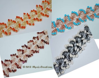 PDF Crocheted Wire Bracelet Tutorial, How to make a wavy crocheted wire bracelet, Wavy Beaded Wire Bracelet Tutorial