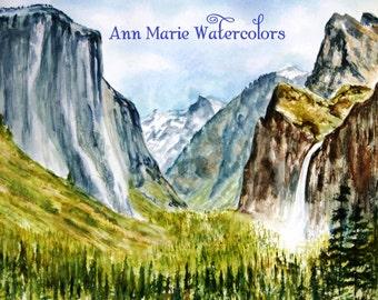 Yosemite - watercolor landscape, giclee print 8 x 10