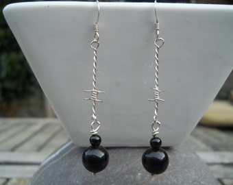 Sterling silver and onyx barbed wire dangly earrings