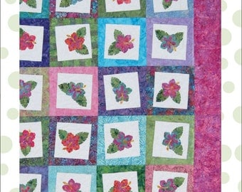 Cool Cat Creations Pattern for Tropical Flower Quilt - Blooming Hibiscus-lap, twin, queen