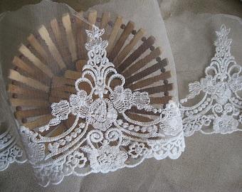 off white lace trim, bridal lace, cotton lace trim, vintage lace, embroidered gauze lace, wedding lace, , 2 yards