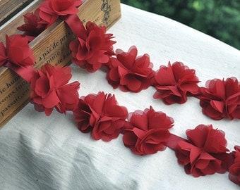 red chiffon rosette trim, chic rosette, shabby chiffon rosette, chiffon rose flowers, wedding decors, wedding bouquet supply, 3D rose flower