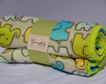 Elephants w/ Lime Green Fleece - Waterproof Baby Changing Pad (Made to Order)