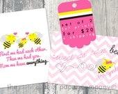 Set of 2 customizable 5x7 art prints: Bumblebee, Bee Nursery or Child's Room
