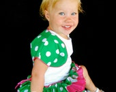 Beautiful Parley Ray Baby Girls Green and Pink Polkadots all around Ruffle Skirt Ruffled Baby Bloomers/ Diaper Cover / Photo Props
