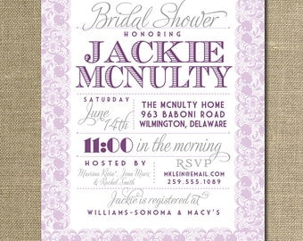 Lace Bridal Shower Invitation Pastel Lavender Eggplant Purple Gray Rustic Wedding Invite FREE PRIORITY SHIPPING or DiY Printable - Jackie
