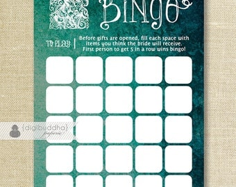 Teal Ombre Bridal Shower Bingo Wedding Gown 5x7 Shabby Chic Modern Bridal Shower Game Card 5x7 Printed Game Cards - Kim