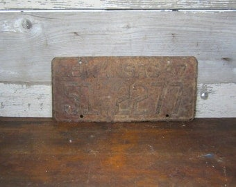 Vintage  Kansas Metal License Plate Rusted and Naturally Distressed 1947