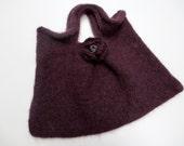 Felted wool purse, burgundy