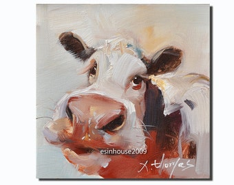 Western cow portrait Original oil Painting  on canvas panel 15CMX15CM