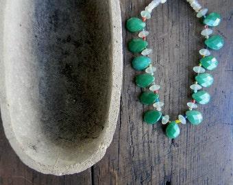 Green Aventurine Hand Beaded necklace Wedding Sundance style jewelry