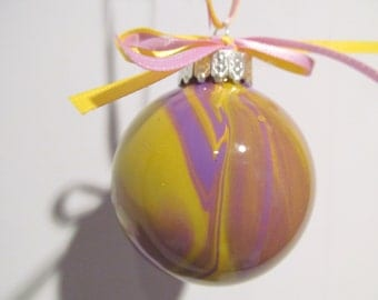 Small Purple and Yellow Painted Glass Ornament