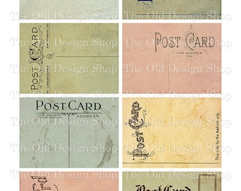 ATC Backgrounds Altered Vintage Postcards Printable JPG Digital Collage Sheet