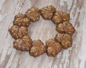 Maple Leaf Bead 10x13mm Rose Brown Czech Glass Picasso BROWN SUGAR (10)