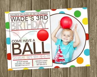 Ball Birthday Party Invitation - Photo Option
