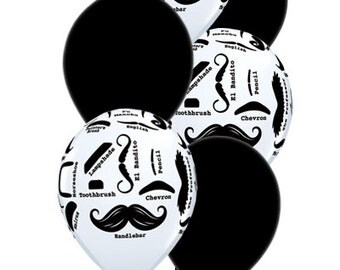 Little Man Mustache II Birthday Balloons - Set Of 12