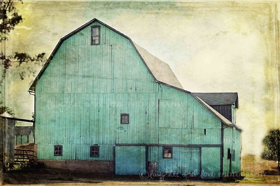 Aqua Barn Photo, Rustic Farmhouse Photography, Turquoise Teal Mint Country Farm Print, Fixer Upper Style, Livingroom Home Decor Wall Art