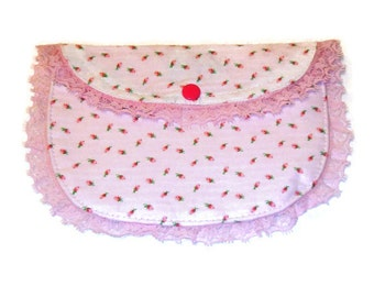 White and Pink rose bud Small clutch purse with pink lace and pink snap closure