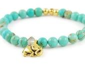Elephant Bracelet, Gemstone Bracelet, Green, Teal Magnesite Crystal, Animal Jewelry, Stretch Bracelet, Bead Bracelet, Wisdom, Gift