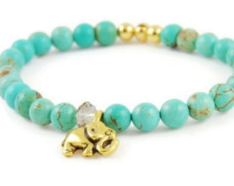 Elephant Bracelet - Gemstone - Elephant Jewelry - Green