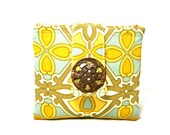 Reserved for Ellen - Large Teal and Gold Zipper Pouch Wallet Cute Zipper Coin Purse iPod Holder Accessory Jewelry Holder Olive Green Cream