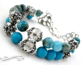 Turquoise agate bracelet, gemstone bracelet, turquoise bracelet, bead bracelet, magnesite bracelet, blue bracelet,agate jewelry,crystal gift