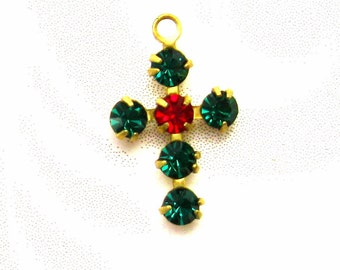 3 Swarovski Cross Charms  Emerald and Ruby red and Green 1 loop prong set Christmas Crystal charms findings Jewelry Supplies Charms Dangles