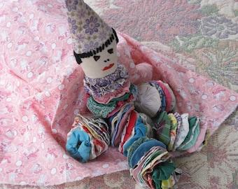 Vintage Yo Yo Clown Doll 1930's-1940's Fabric Quilt  Yo Yo's Aorable Clown Doll Handmade