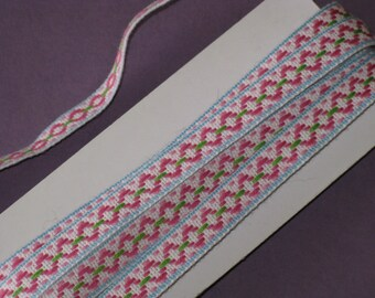 "Vintage Embroidered Trim Pastel Colors Pink, Blue, Green 4 1/2 Yards by 1/2"" Wide Cotton Pretty"