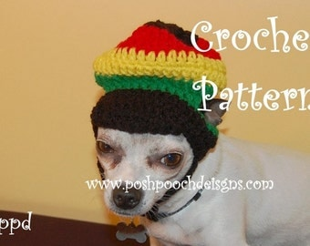Instant Download Crochet Pattern- Jamaican Dog hat - Small Dog Beanie