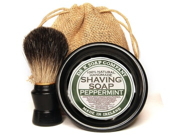ALL NATURAL Shaving Set, For Men, Shaving Soap, Brush and Bowl Set