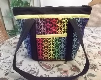 Peace Sign Handmade Machine Quilted Purse