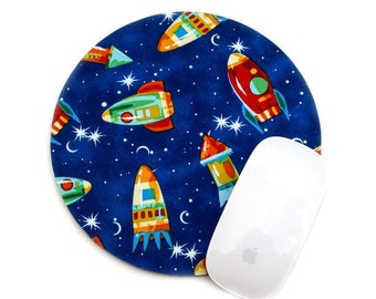 Mouse Pad / Retro Space Rocket Rocketship / Home Decor Office / Round Mousepad / Michael Miller / Blue, Red, Yellow