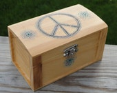 Wooden Jewelry Box / Chest With Wood Burned Dotted Peace Sign